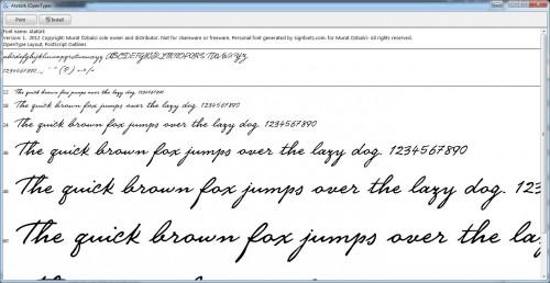 Atatürk kézírás betűkészlet