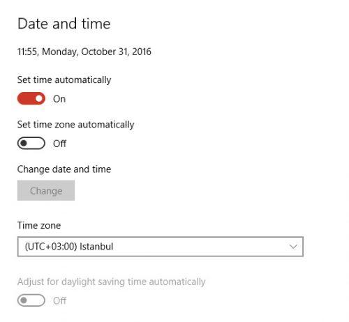 Windows 10, ahol Isztambul már az UTC+3-ban van.