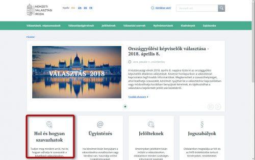 Választások 2018. - Főképernyő