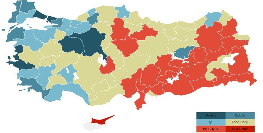 Törökországban olvasott könyvek eloszlása. Sötétkék: legtöbb, Piros: legkevesebb. Forrás: Ensonhaber