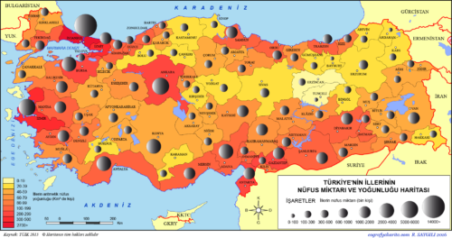 Törökország lakossági térképe 2015 - Forrás: Coğrafya Harita