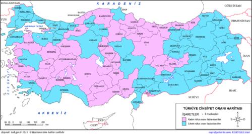 Fiúk-lányok aránya Törökországban - Forrás: Coğrafya Harita