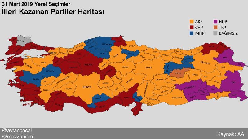 2019. március 31-én önkormányzati választások Törökország térképe