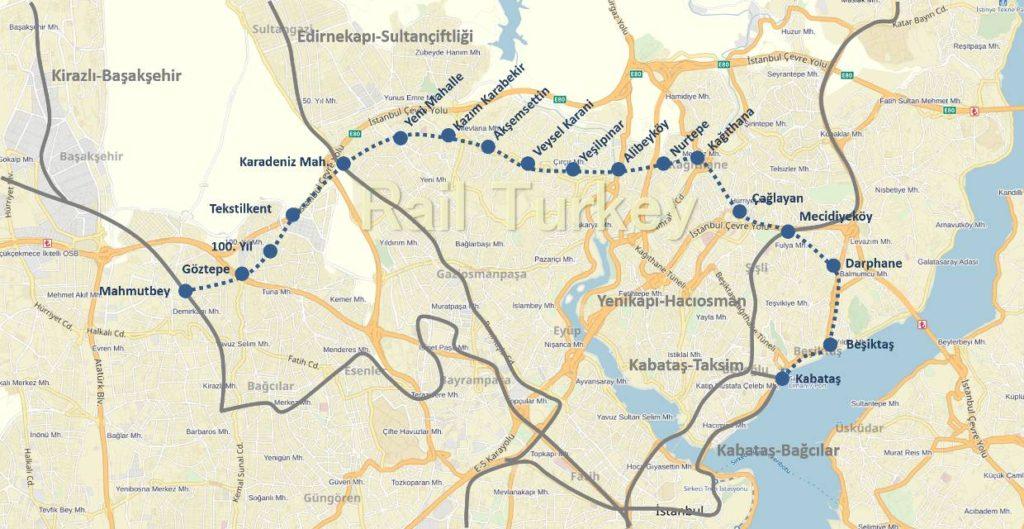 Kabataş-Mahmutbey tervezett metróvonal - Forrás: Rail Turkey