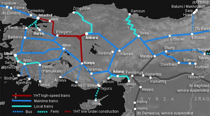 Törökország vasúti hálózata - Forrás: Sat61