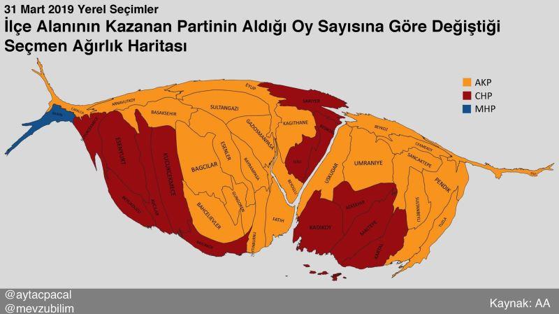 2019. március 31-én önkormányzati választások Isztambul térképe a népességre torzítva