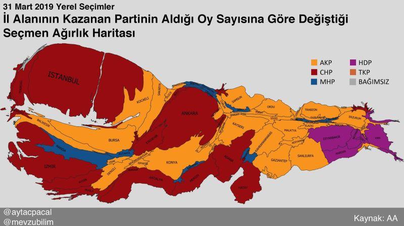 2019. március 31-én önkormányzati választások Törökország térképe a népességre torzítva