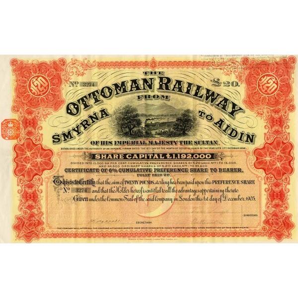 Ottoman Railway Company részvény. - Forrás és meg is vásárolható: Numistoria