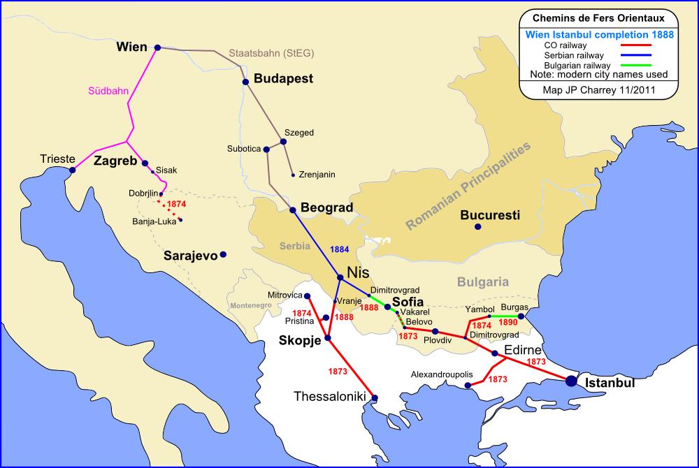 A Bécs-Isztambul vasútvonal építése - Forrás: Wikipédia