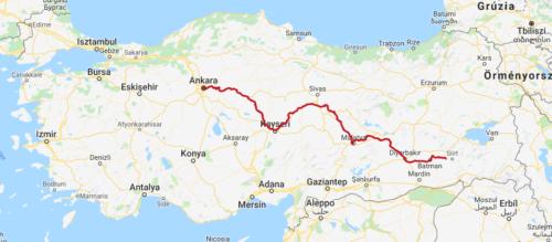 A Kurtalan-Expressz útvonala - Forrás: railturkey.org