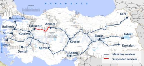 Törökország vasúti térképe (2017) - Forrás: Rail Turkey Seyahat