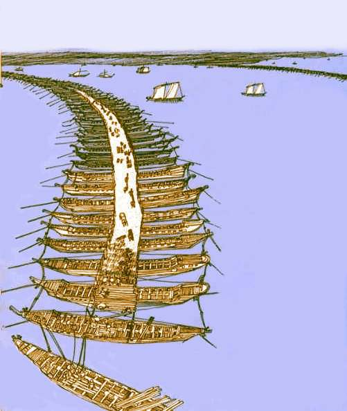 Ilyen lehetett a  Mandroklész által tervezett Boszporusz-híd. Ez a kép a későbbi Dardanellák-hidat ábrázolja, amelyiket Xerxes építetett.  - Forrás: http://www.mlahanas.de/Greeks/InventionsF.htm