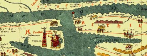 Konstantinápoly a Tabula Peutingeriana térképen - Forrás: Wikipédia