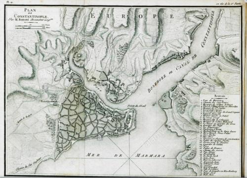 Isztambul dombozati(as) térképe 1811-ből. Készítő: Castellan Antoine-laurent. Forrás: alamy