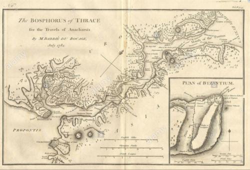 A Boszporusz domborzati térképe - 1784 Készítő: M. Barbié du Bocage Forrás: alamy