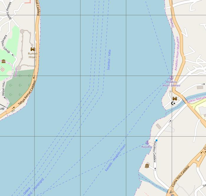 Az OpenNauticalChart térképen az Európai Erőd és az Ázsiai Erőd
