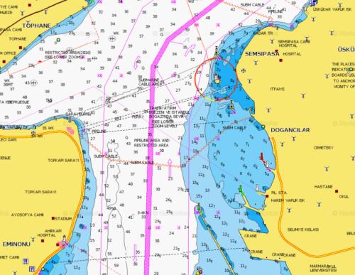 Isztambul Navionics hajózási térképe