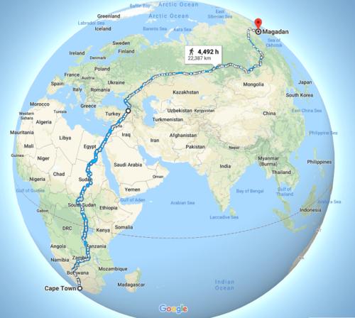 A leghosszabb bejárható út, megszakítás (komp) nélkül. Forrás: brilliantmaps.com