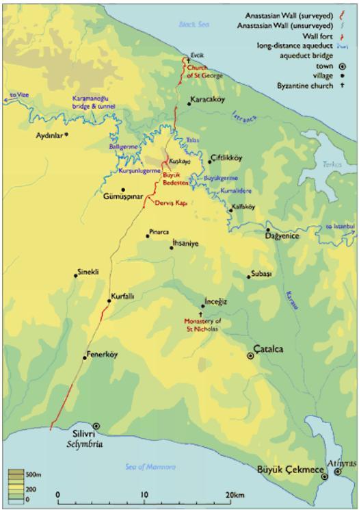 Az Anasztasziosz-fal térképe. Forrás:MyByzantine