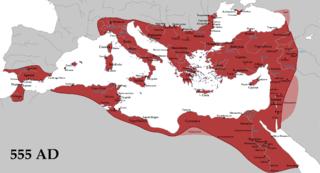 A birodalom legnagyobb kiterjedése idején 555-ben, I. Iusztinianosz uralkodása alatt. Forrás: Wikipédia