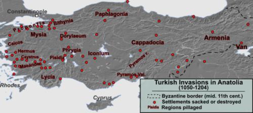 A szeldzsuk támadások eredményeképpen megsemmisült települések, és vallási központok. Forrás: Wikipédia