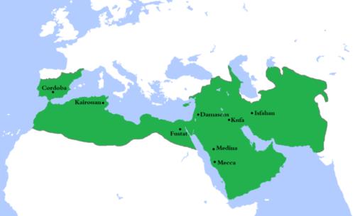 Az Omajjád kalifák területe 750-ben. Forrás: Wikipédia