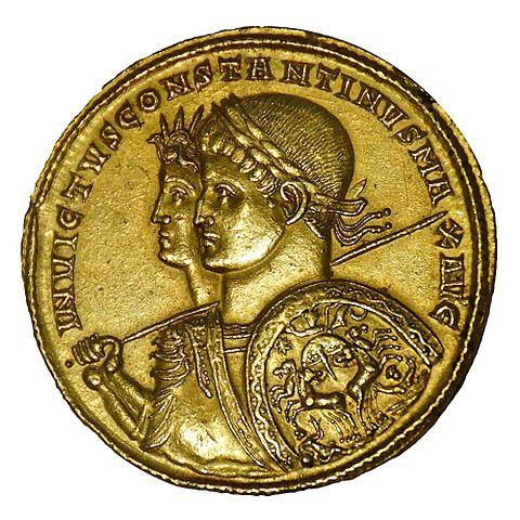 I. Constantinus vagy Nagy Konstantin 3131-ban vert érméje. Forrás: Wikipédia