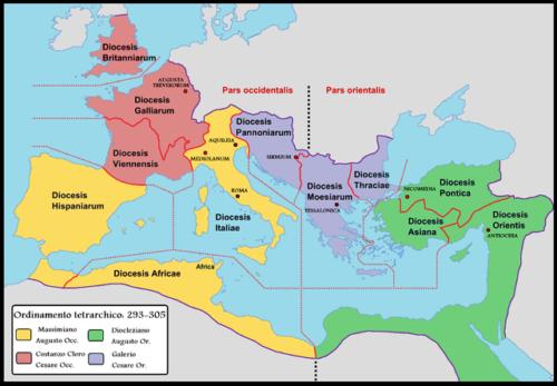 Tetrarchia: Diocletianus négy részre osztotta a birodalmat. Forrás: Wikipédia