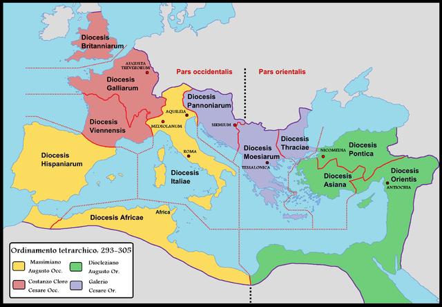 A Római Birodalom felosztott részei a tetrarchia korában. Forrás: Wikipédia