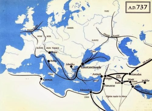 A Bizánci Birodalom kereskedelmi hálózata 737-ben. Forrás: sydneyhwh.weebly.com