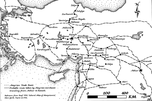 Asszír kereskedelmi hálózat i.e. 2000-1400 környékén. Forrás: Gil Stein (ResearchGate)