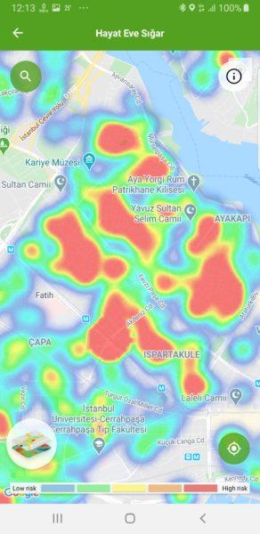 Isztambul Fatih kerületének koronavírus térképe.