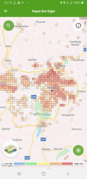 Ankara koronavírus térképe