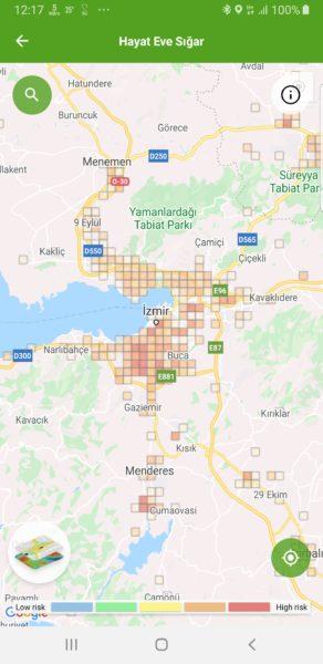 İzmir koronavírus térképe.