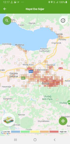 Bursa koronavírus térképe