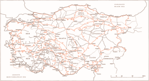 A Római Birodalom úthálózata Anatóliában (kb. 1. század) Forrás: The Roads: David French