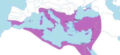 A Bizánci Birodalom a legnagyobb kiterjedése idején, 555-ben Forrás: Wikipédia