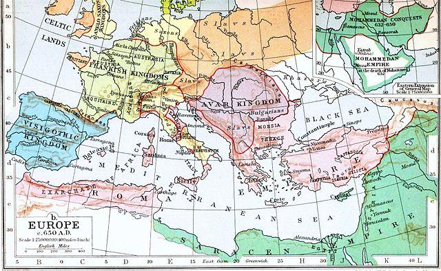 Európa 650-ben. Rózsaszínnel a Bizánci Birodalom. Forrás: Wikipédia