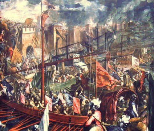 A velenceiek és a keresztesek támadják Konstantinápoly falait az Aranyszarv-öböl felől. Forrás: Wikipédia