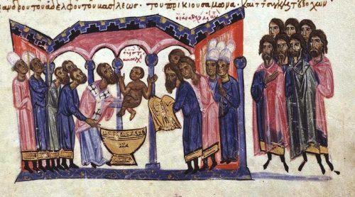 Bíborbanszületett Konstantin keresztelése, és ezzel hivatalosan is elfogadják, hogy ő a trónörökös. Forrás: Wikipédia