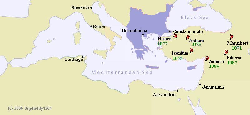 A Bizánci Birodalom és az elvesztett városok 1100 környékén. Forrás: Wikipédia
