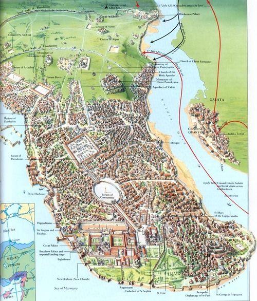 Konstantinápoly 1203-ban a Negyedik Keresztes Hadjárat ostroma idején. Forrás: imgur