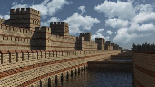 Konstantinápoly szárazföldi fala - rekonstrukció Forrás: https://index.artstation.com/artwork/l629z