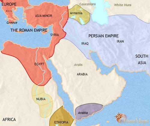 A Közel-Kelet i.sz. 500-ban. Forrás: TimeMaps