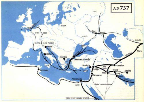 A kereskedelmi utak 737-ben. Forrás: The Penguin Atlas of Medieval History, pg. 43