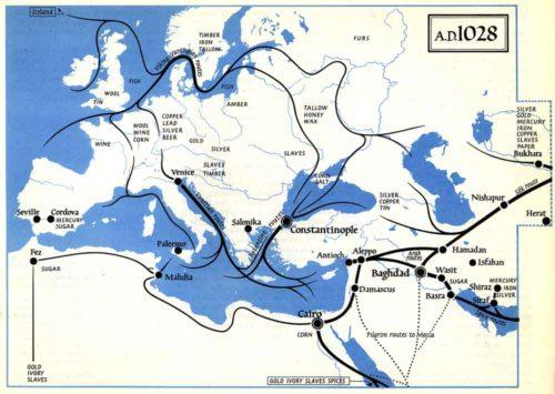 Kereskedelmi útvonalak 1028-ban. Forrás: The Penguin Atlas of Medieval History, pg. 63