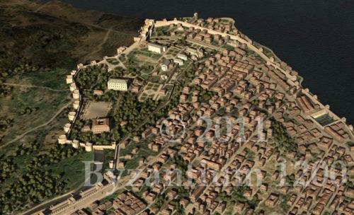 Az új Blakherna-fallal kiegészített városrész rekonstrukciója a Blakherna-palotával. Forrás: byzantium1200