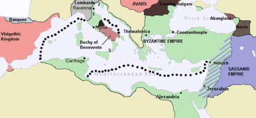 A Bizánci Birodalom 626-ban. Forrás: Wikipédia
