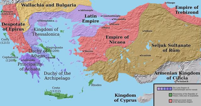 Anatólia és Görögország 1204 után. Forrás: Wikipédia