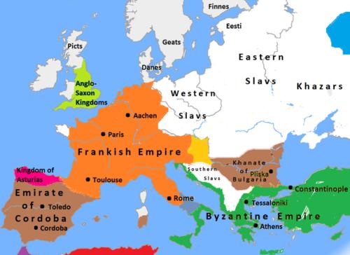 Európa 814-ben. Forrás: Wikipédia